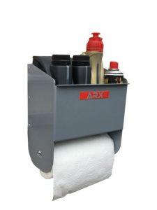Estante aceite motor y papel